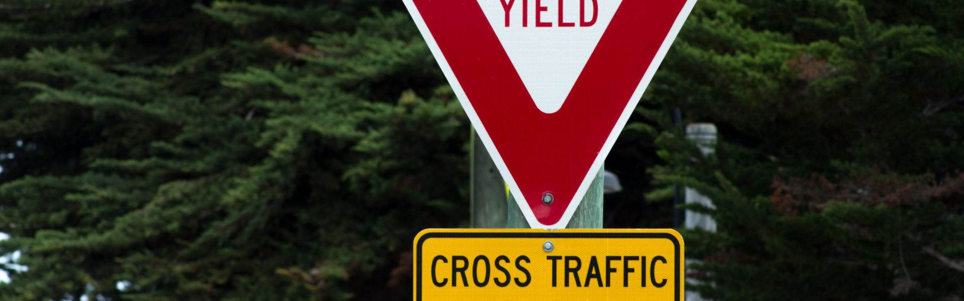 photo of a yield traffic sign